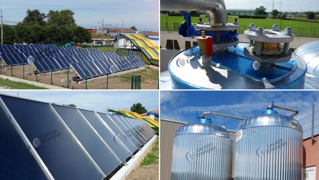 Installation solaire thermique - Piscine Collective Extérieure - Sud-Ouest France